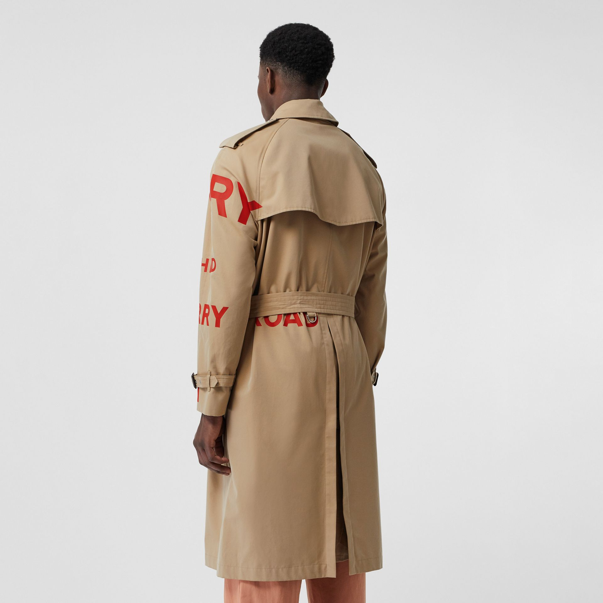 Horseferry Print Cotton Gabardine Trench Coat in Honey | Burberry United Kingdom - gallery image 2