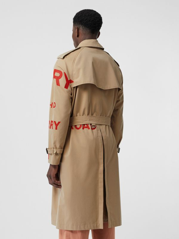 Trench coat de gabardine de algodão com estampa Horseferry (Mel) | Burberry - cell image 2