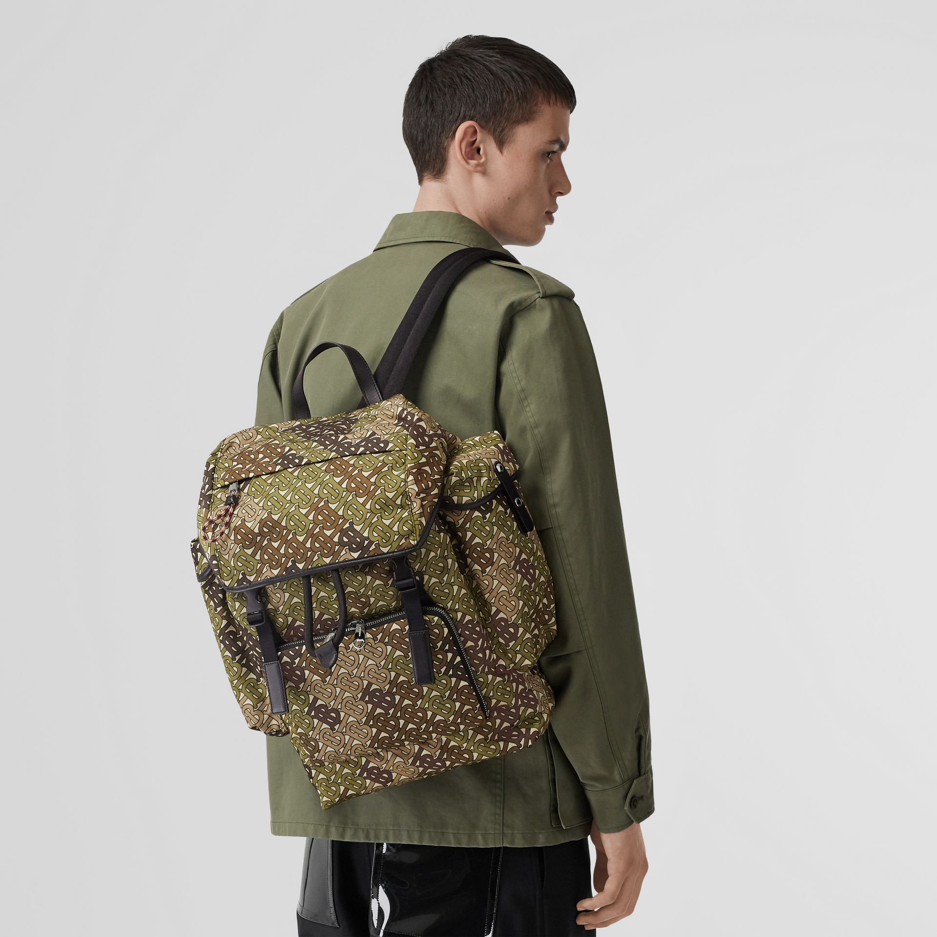 Medium Monogram Print Nylon Backpack in Khaki Green - Men | Burberry Canada - gallery image 2