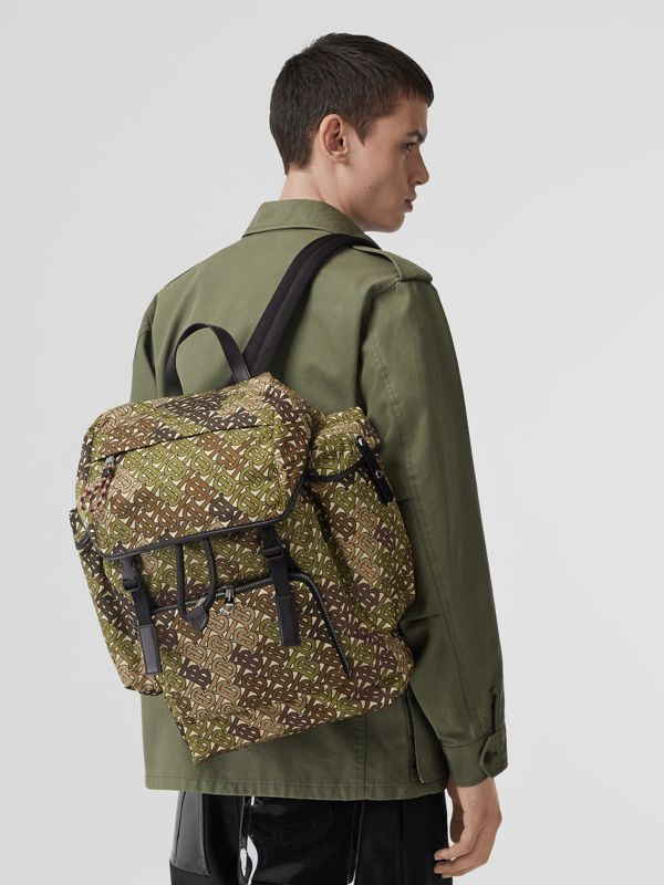 Medium Monogram Print Nylon Backpack in Khaki Green - Men | Burberry Canada - cell image 2