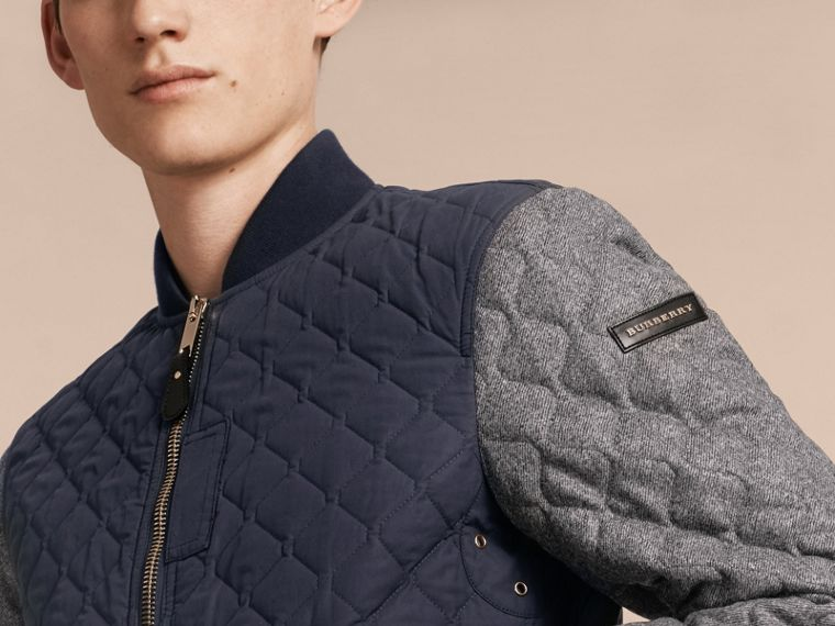 Navy Quilted Cotton and Wool Bomber Jacket - cell image 4