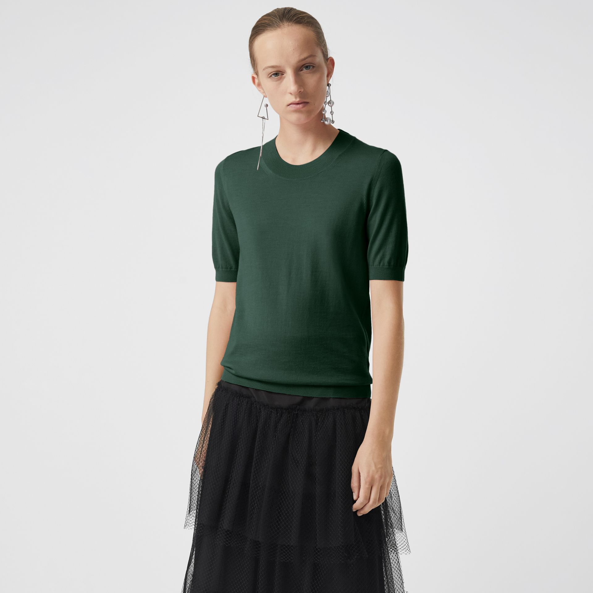 Crew Neck Merino Wool Sweater in Dark Forest Green - Women | Burberry - gallery image 0