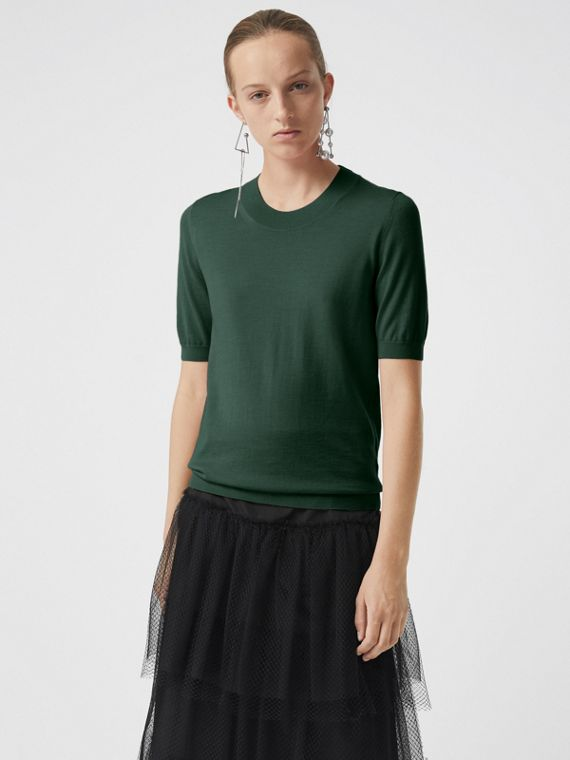 Crew Neck Merino Wool Sweater in Dark Forest Green