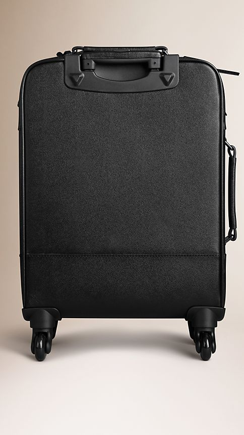 Black London Leather Four-Wheel Suitcase - Image 3