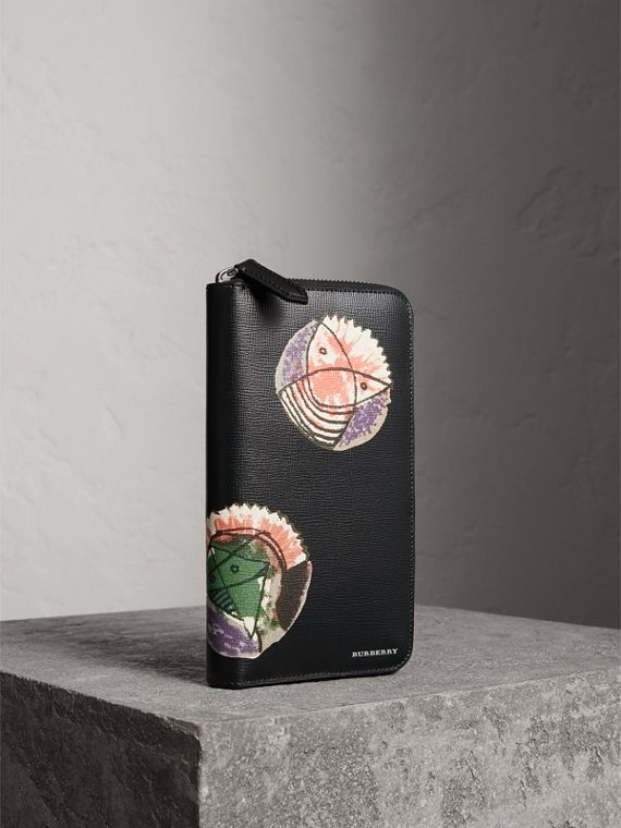 Бумажник из кожи London с круговой застежкой-молнией и принтом Pallas Heads (Черный)