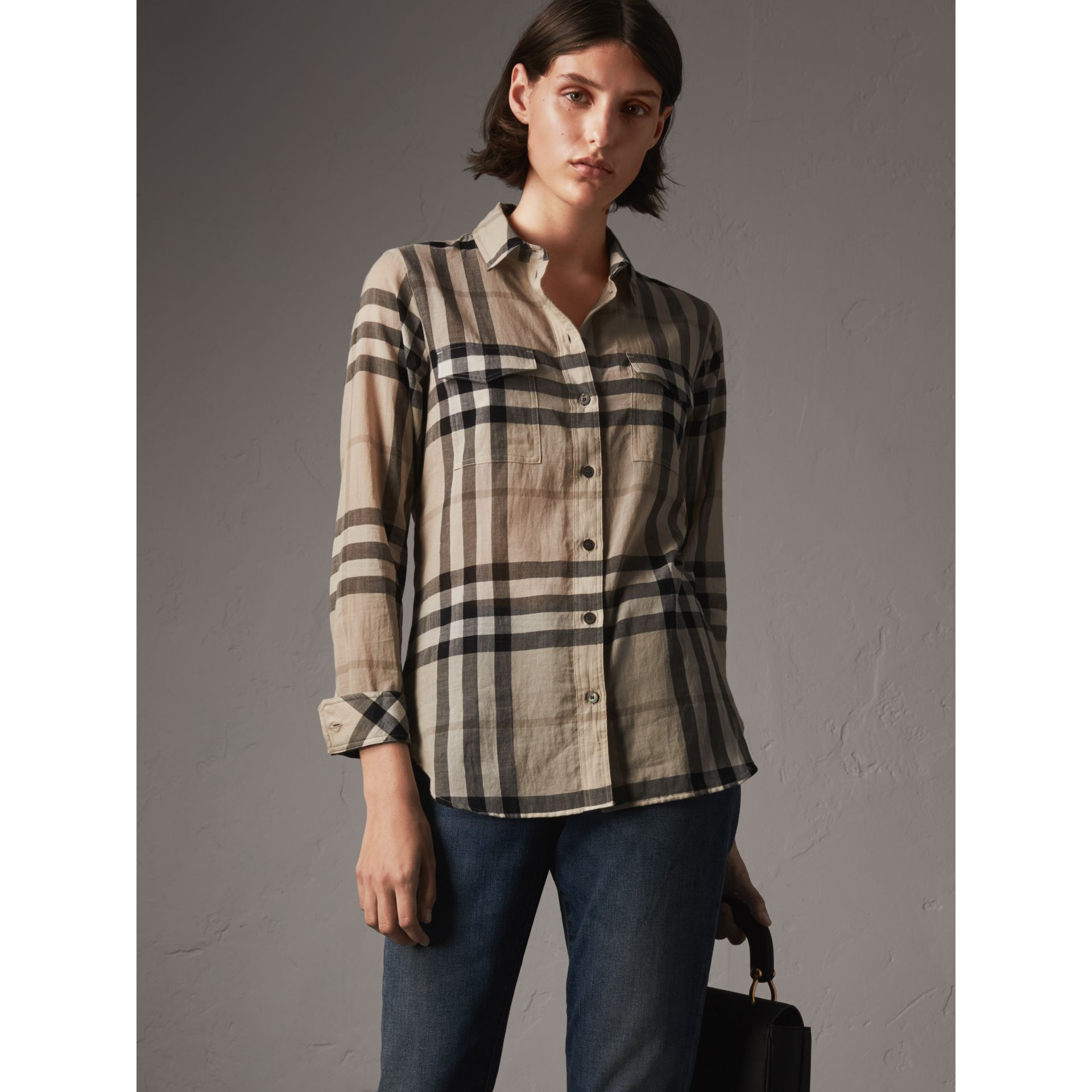 Check Cotton Shirt in Chino - Women | Burberry - gallery image 1