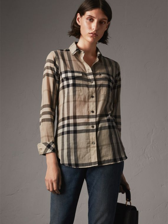 Camisa en algodón con motivo a cuadros (Chino)
