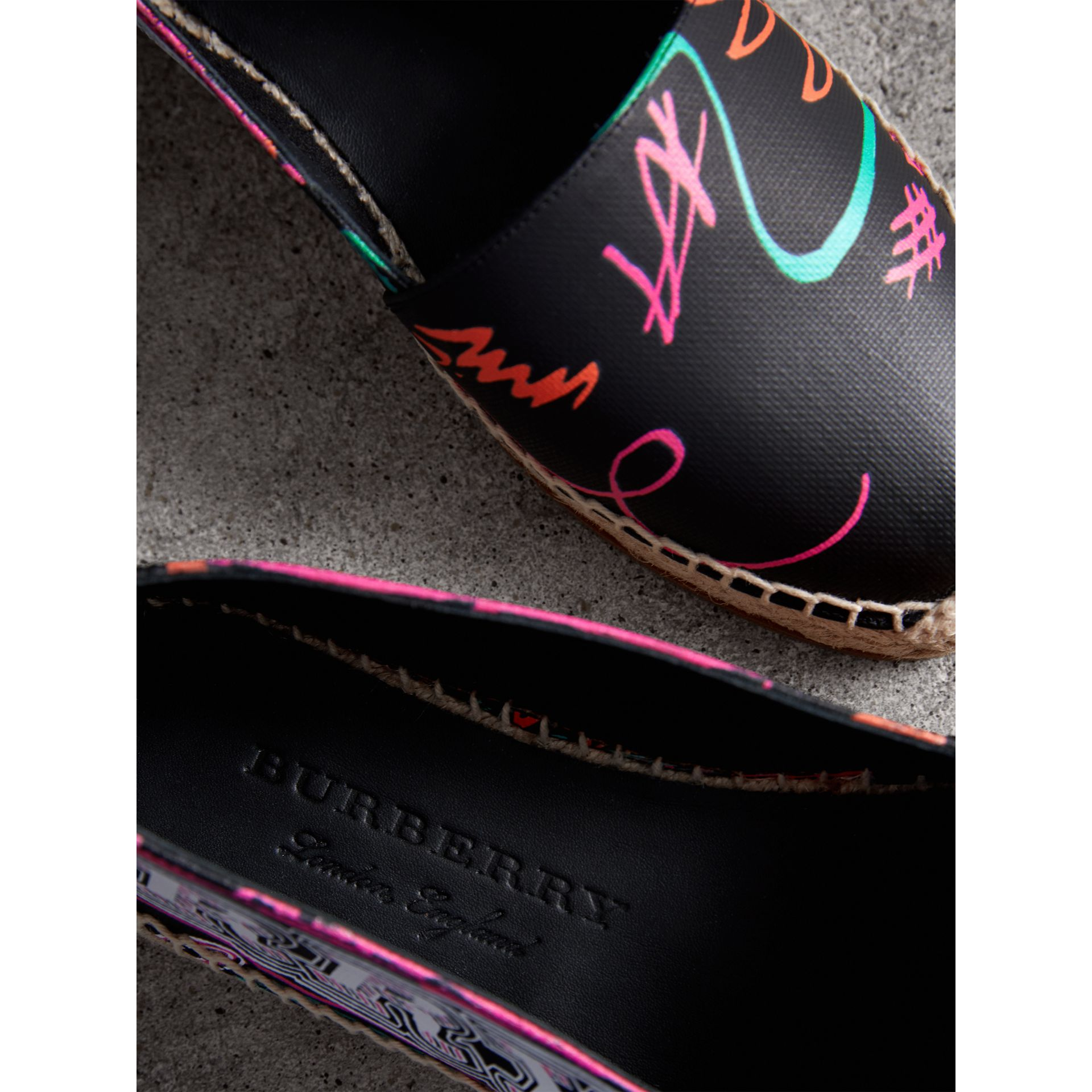 Doodle Print Coated Cotton Espadrilles in Black - Women | Burberry - gallery image 1