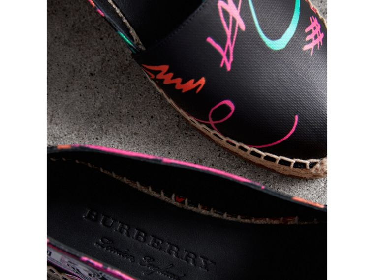 Doodle Print Coated Cotton Espadrilles in Black - Women | Burberry Australia - cell image 1