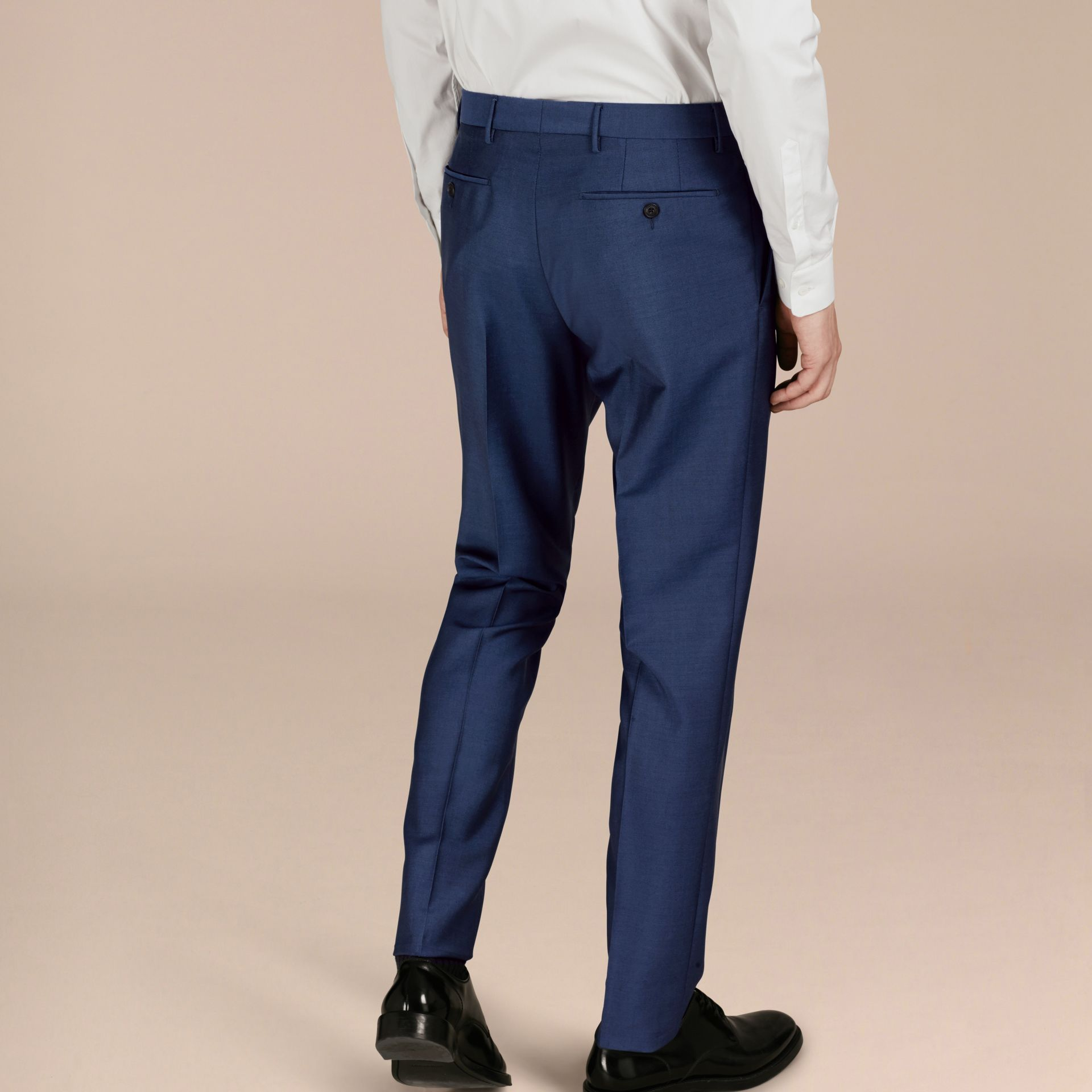 Dark canvas blue Slim Fit Wool Mohair Trousers Dark Canvas Blue - gallery image 2