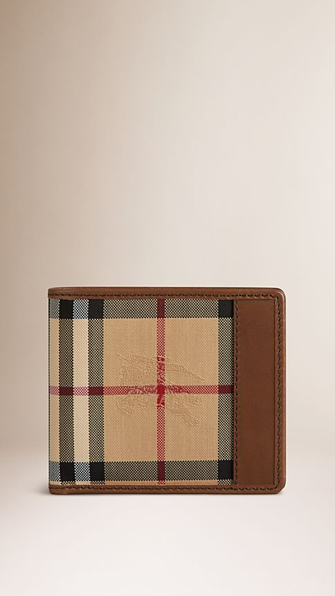 Tan Horseferry Check Folding Wallet - Image 1