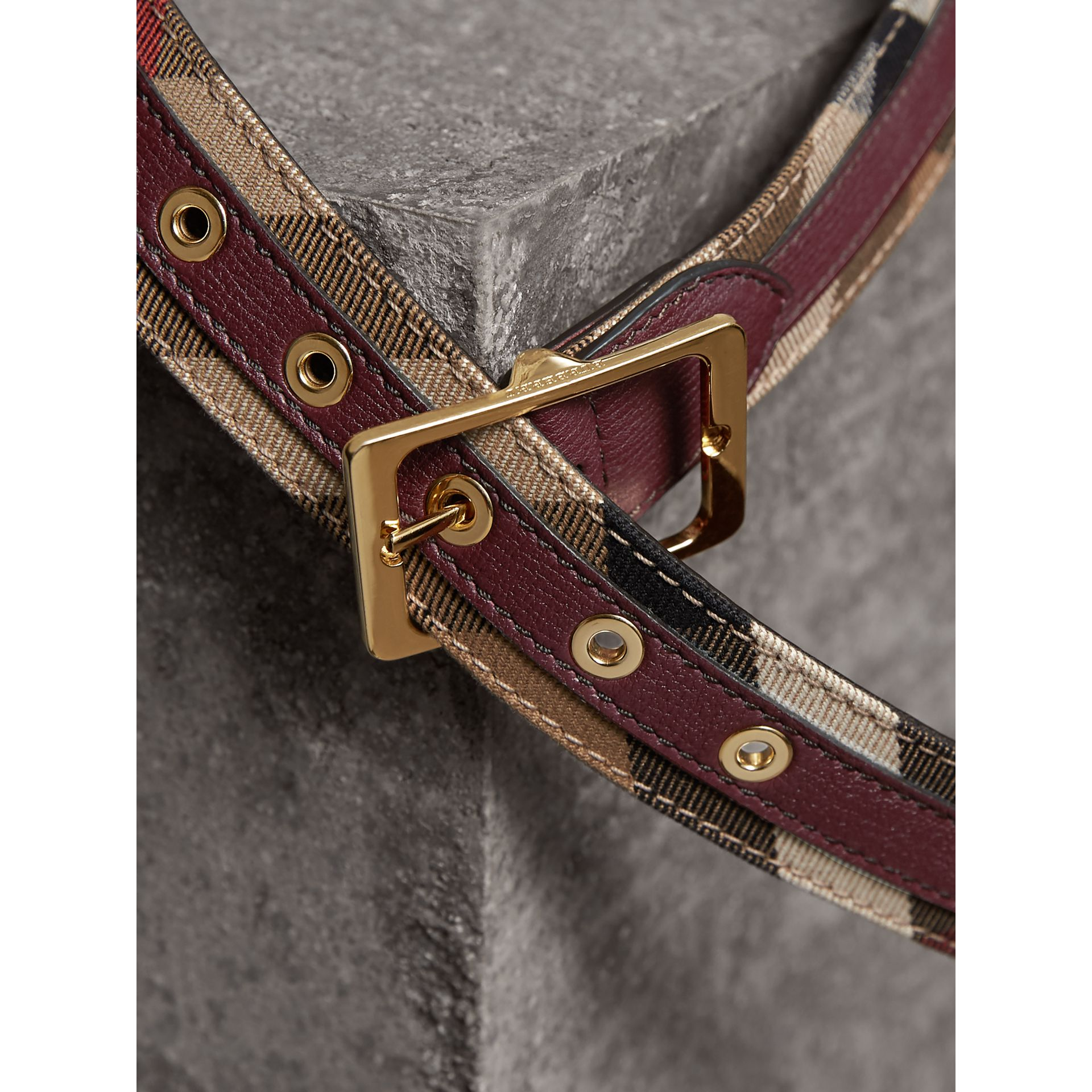 House Check and Grainy Leather Belt in Camel/mahogany Red - Women | Burberry - gallery image 2