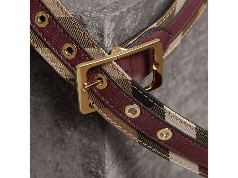 House Check and Grainy Leather Belt in Camel/mahogany Red - Women | Burberry Canada - cell image 1