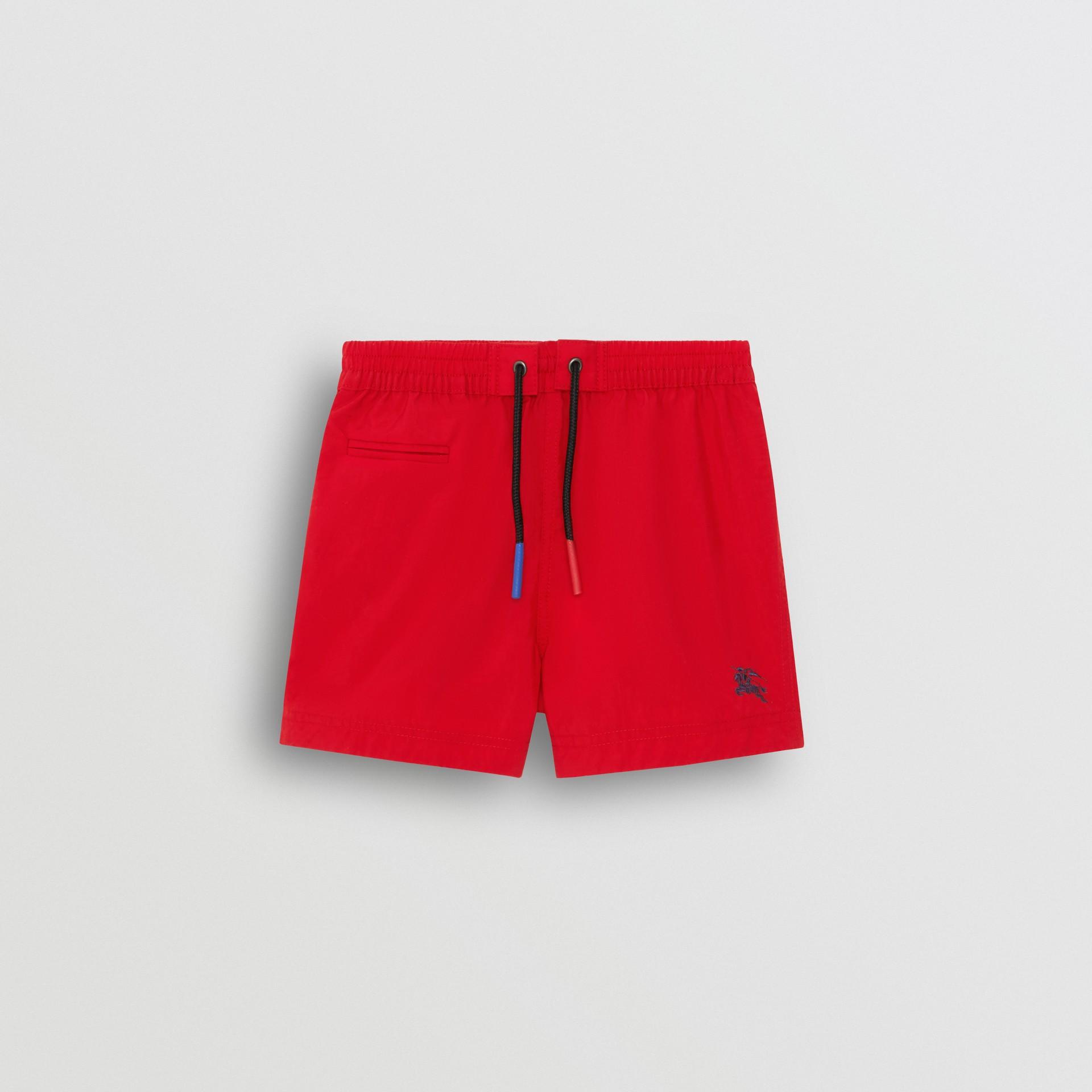 Short de bain avec cordon de serrage (Rouge Militaire) - Enfant | Burberry - photo de la galerie 0