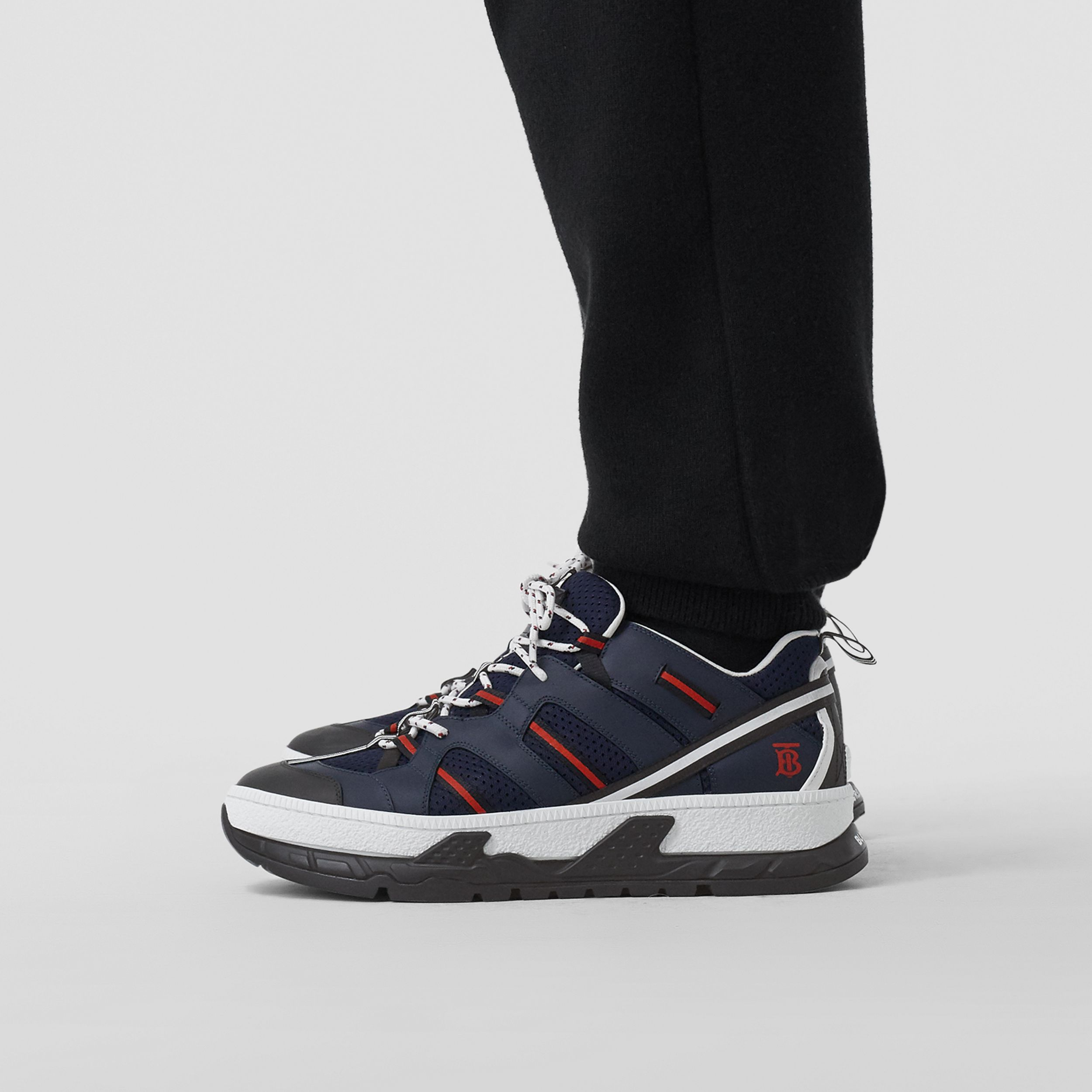 Leather and Mesh Union Sneakers in Navy - Men | Burberry - 3