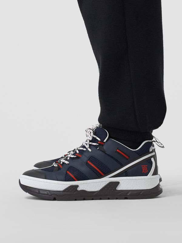 Leather and Mesh Union Sneakers in Navy - Men | Burberry - cell image 2