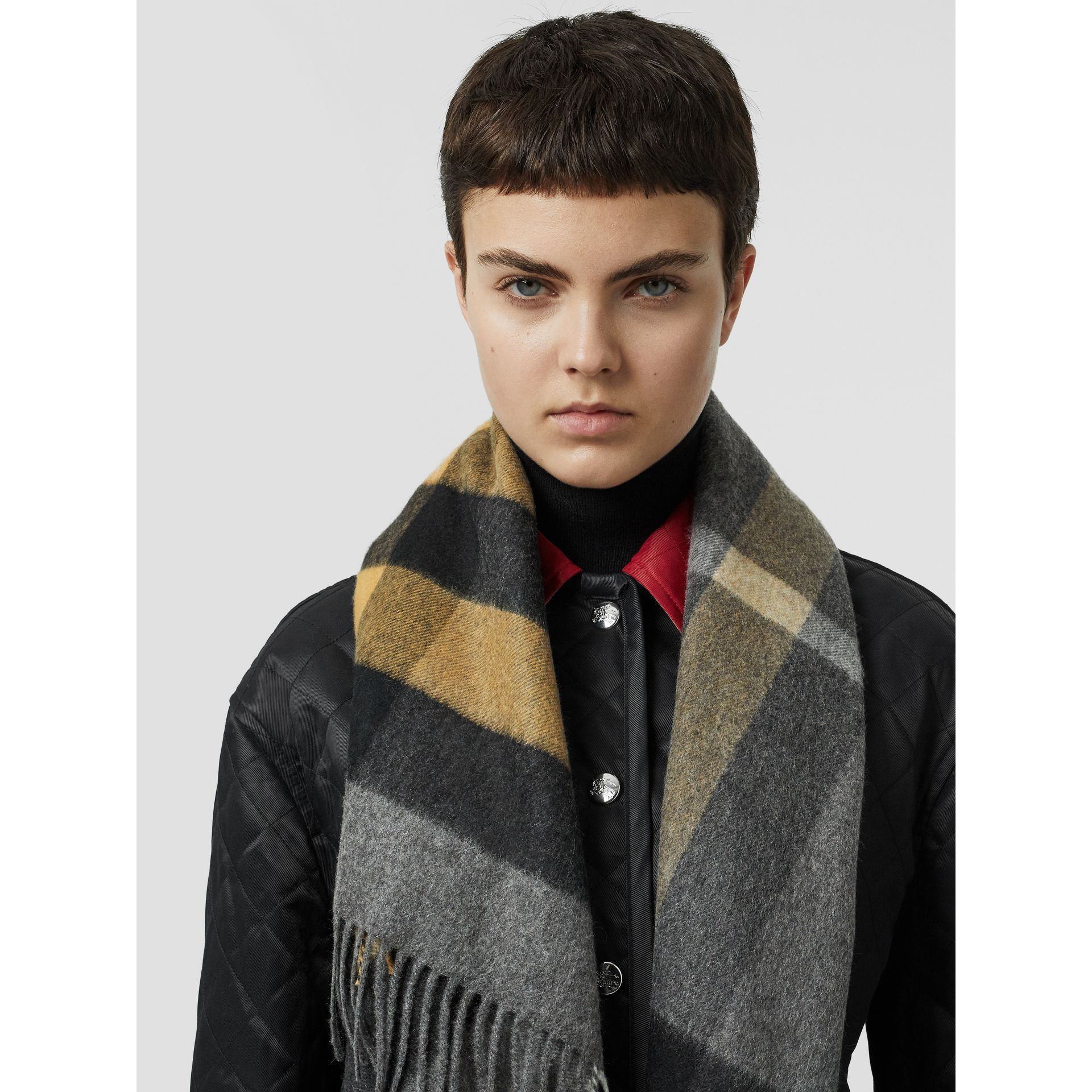 The Burberry Bandana in Check Cashmere in Mid Grey | Burberry Australia - gallery image 2