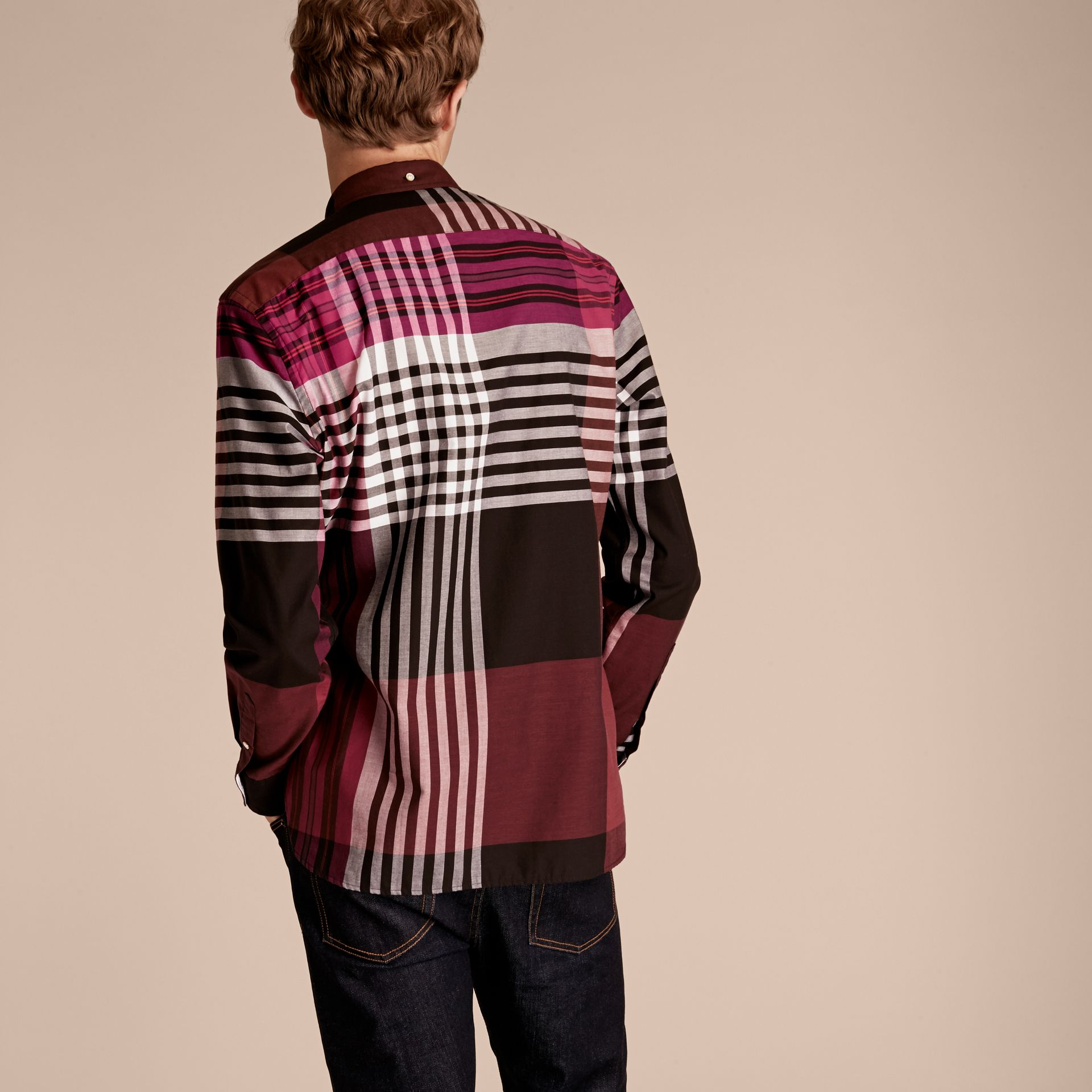 Deep claret Graphic Tartan Cotton Shirt Deep Claret - gallery image 3