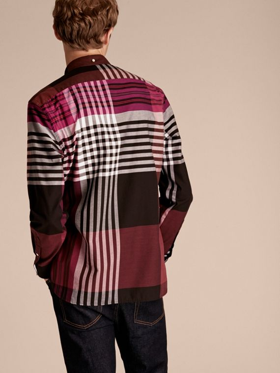 Graphic Tartan Cotton Shirt Deep Claret - cell image 2