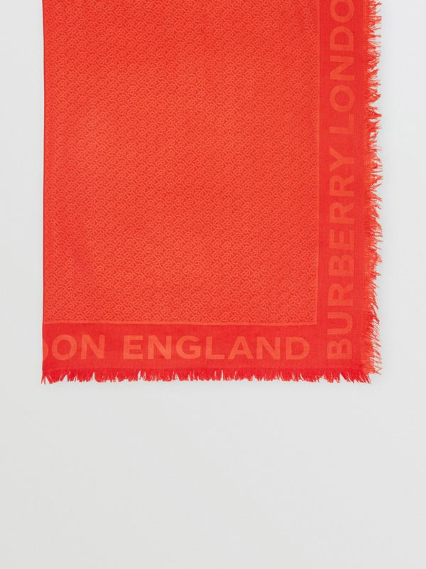 Monogram Silk Wool Jacquard Large Square Scarf in Vermilion | Burberry - cell image 3