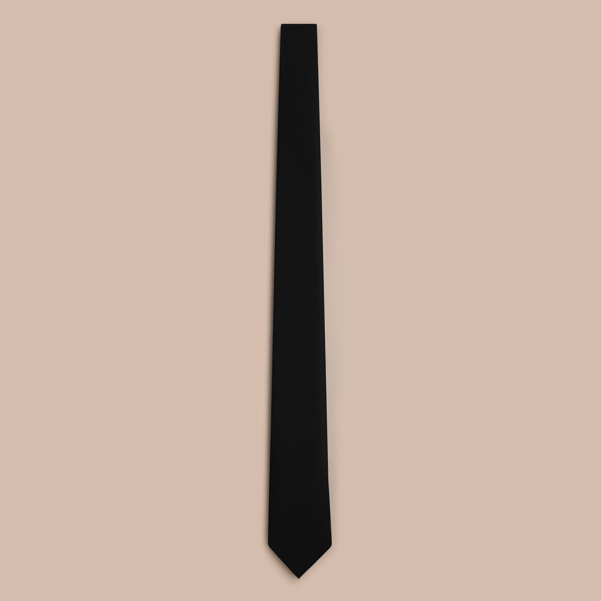 Black Slim Cut Silk Tie - gallery image 1