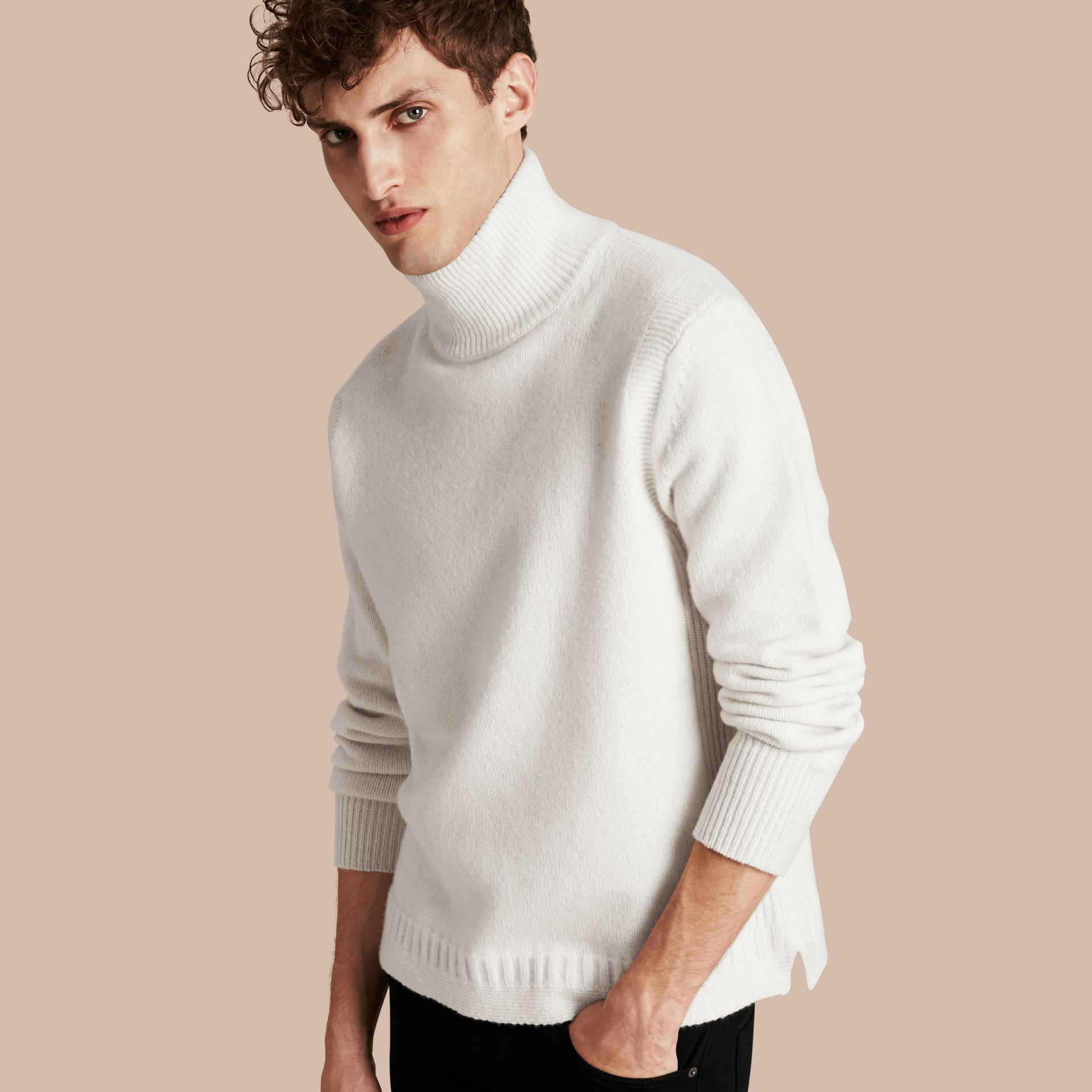 Natural white Funnel Neck Wool Sweater Natural White - gallery image 1
