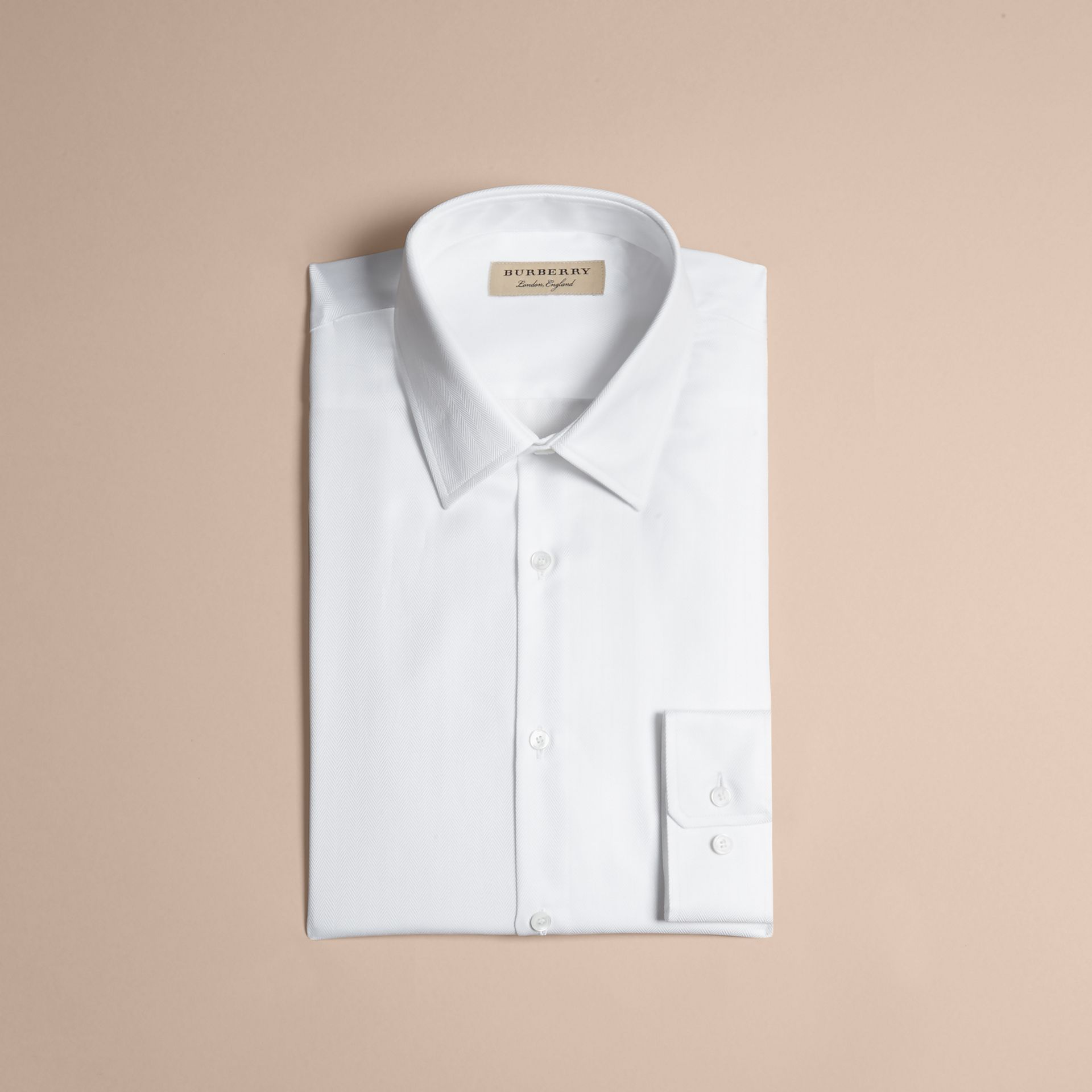 White Slim Fit Herringbone Cotton Shirt - gallery image 4