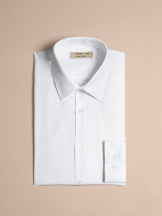 White Slim Fit Herringbone Cotton Shirt - cell image 3