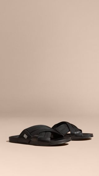 Check Detail Technical Web and Leather Sandals