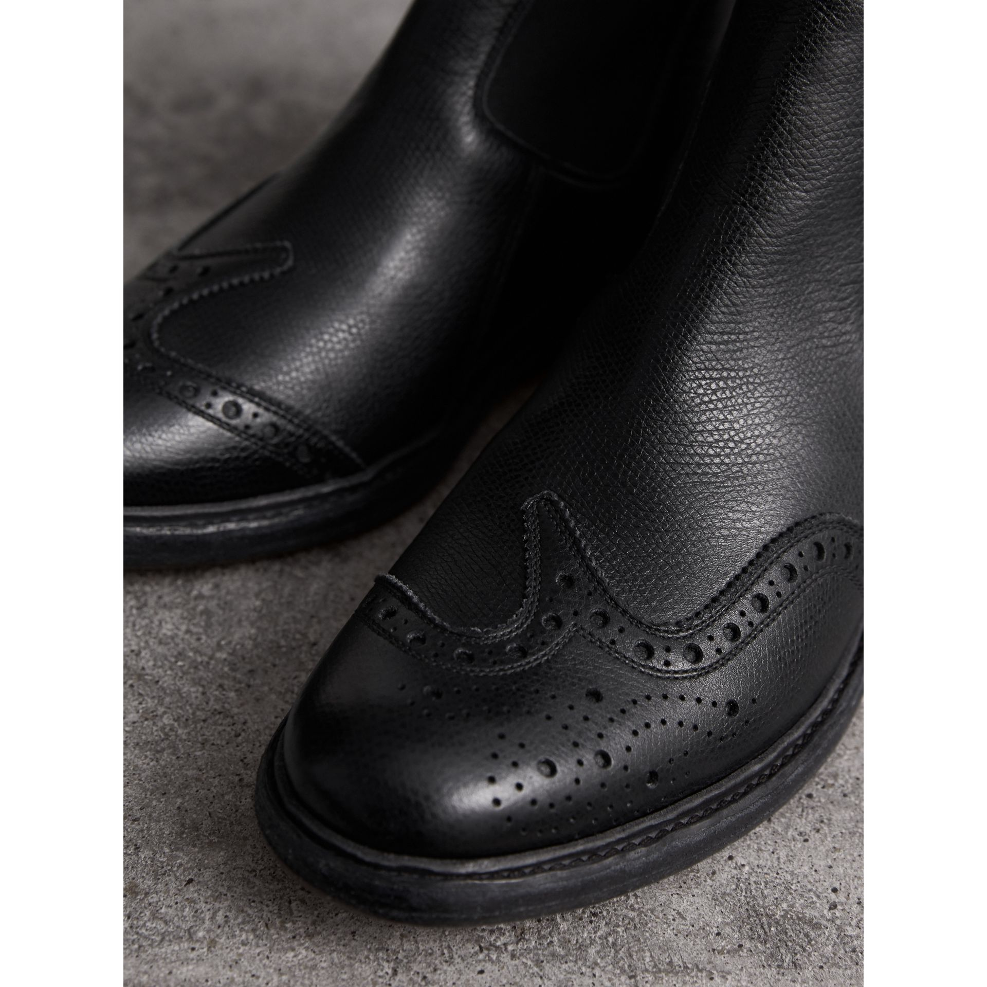 Brogue Detail Textured Leather Chelsea Boots in Black - Women | Burberry Singapore - gallery image 1
