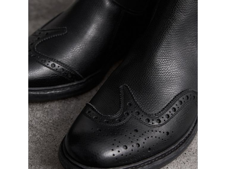 Brogue Detail Textured Leather Chelsea Boots in Black - Women | Burberry Singapore - cell image 1