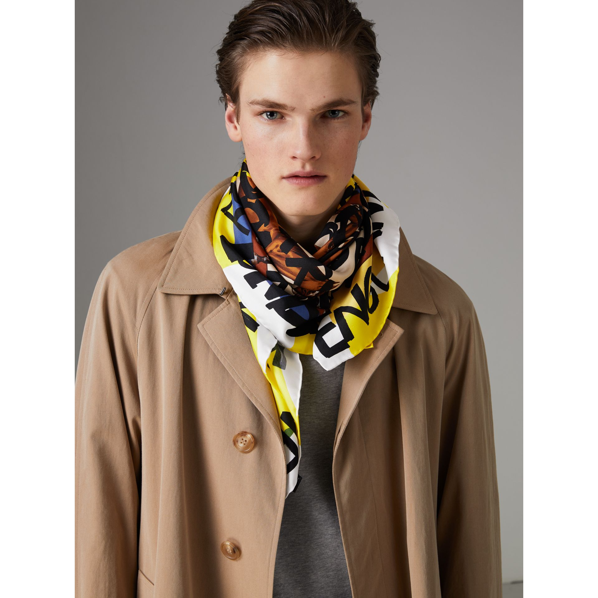Graffiti Archive Scarf Print Silk Square Scarf in Bright Yellow | Burberry - gallery image 5