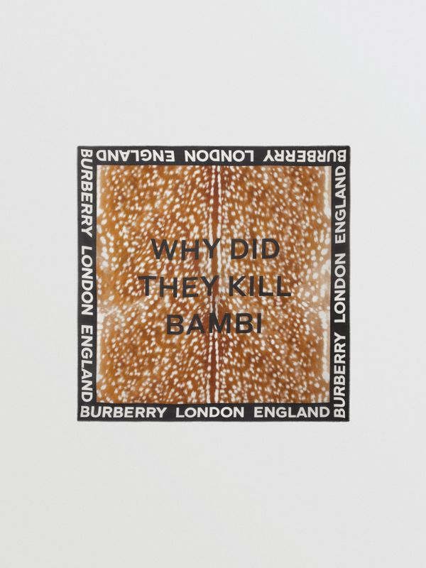 Slogan Animal Print Cotton Silk Large Square Scarf in Brown | Burberry - cell image 3