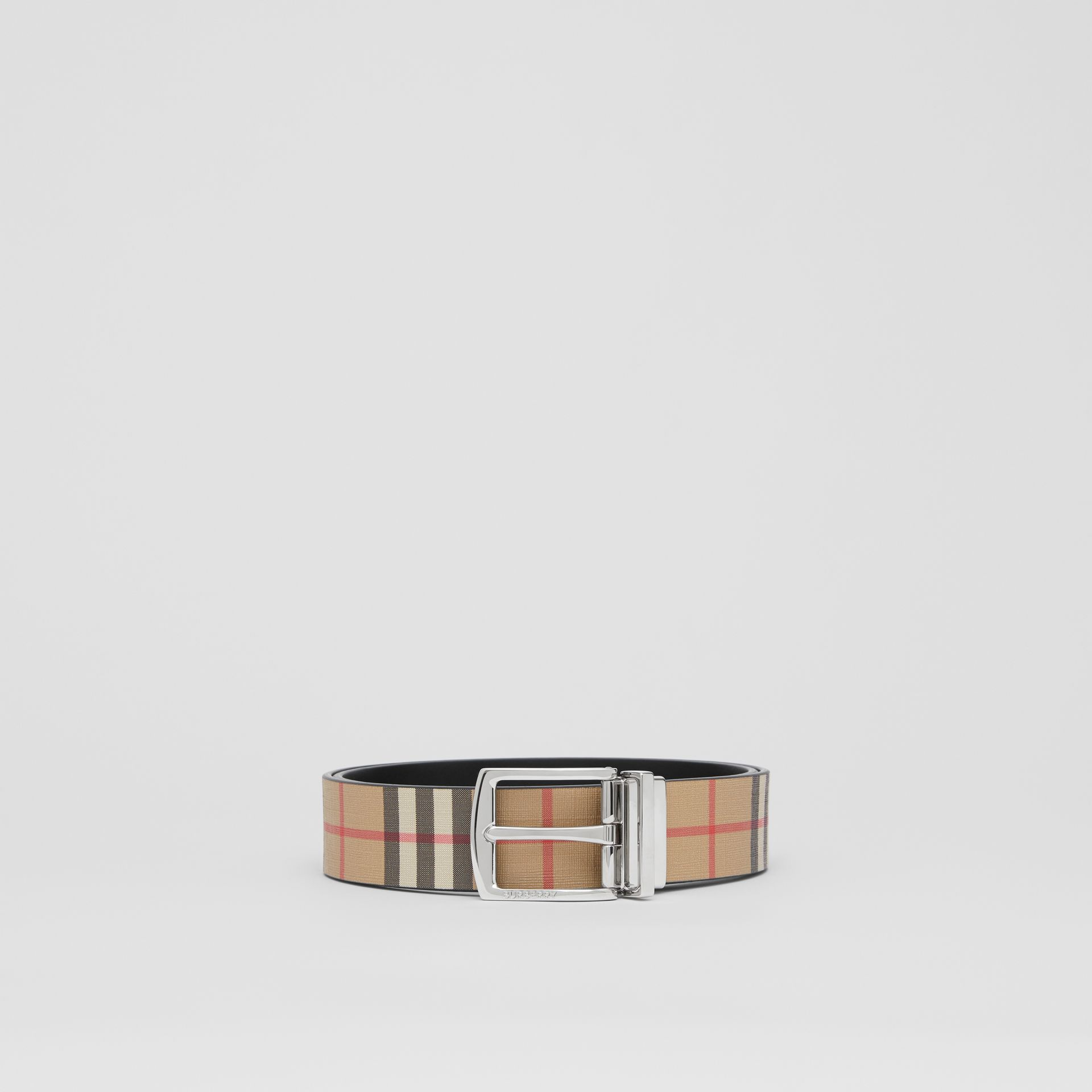 Reversible Vintage Check E-canvas and Leather Belt in Archive Beige - Men | Burberry Singapore - gallery image 3