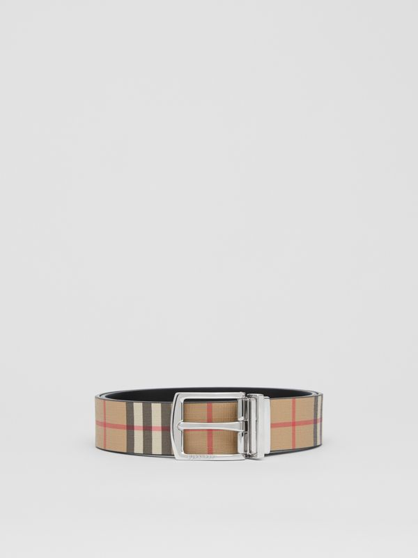 Reversible Vintage Check E-canvas and Leather Belt in Archive Beige - Men | Burberry Singapore - cell image 3