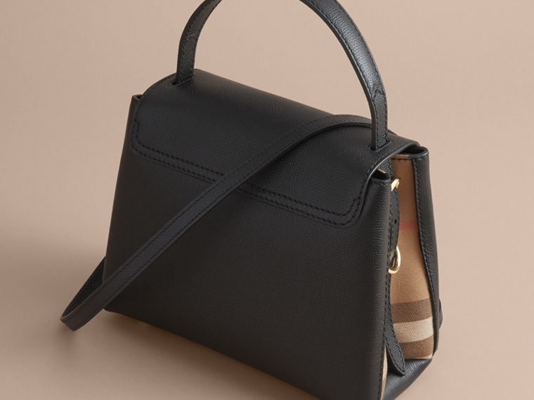 Small Grainy Leather and House Check Tote Bag in Black - Women | Burberry - cell image 4