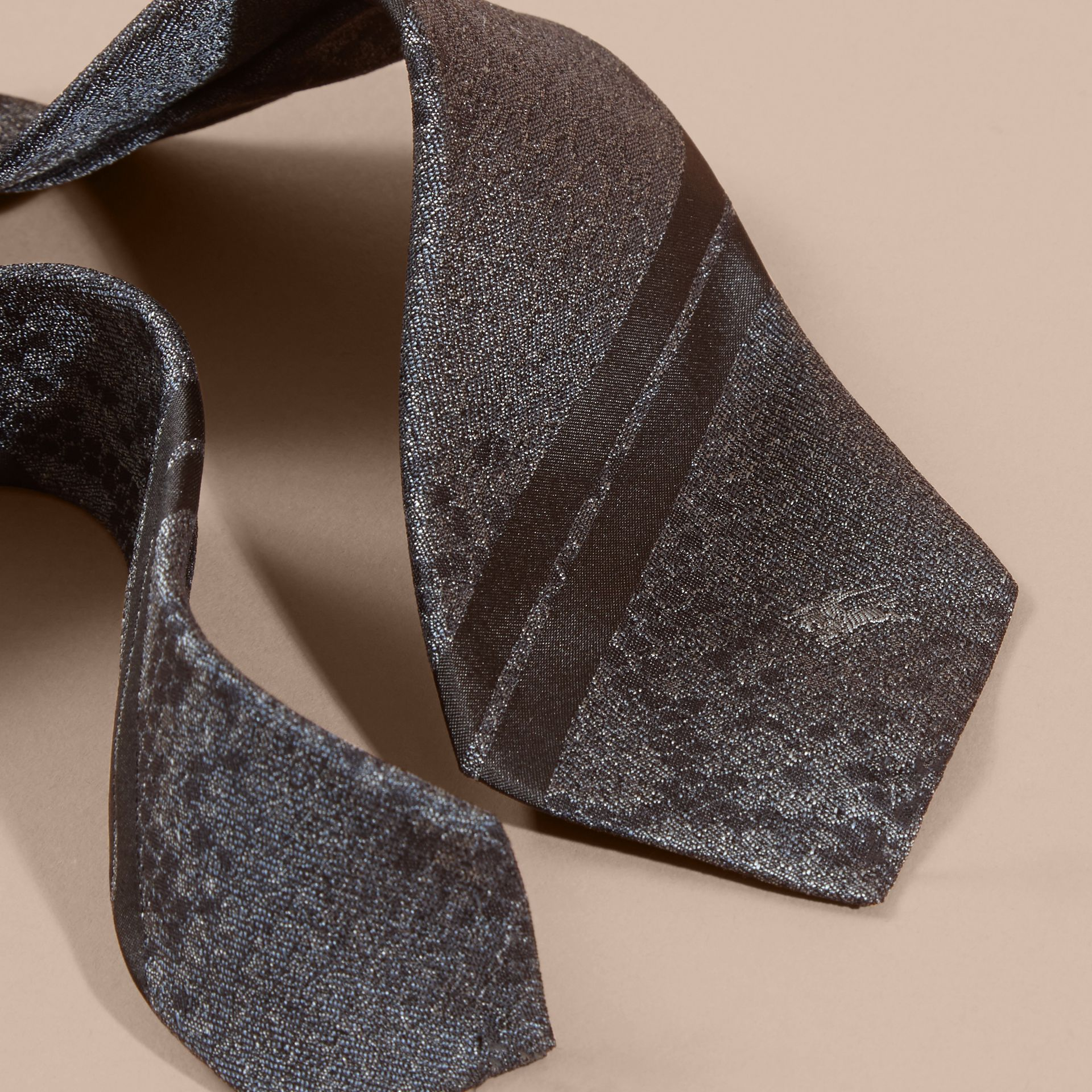 Charcoal Modern Cut Python Jacquard Silk Tie Charcoal - gallery image 2