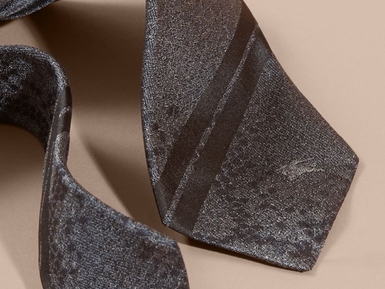 Charcoal Modern Cut Python Jacquard Silk Tie Charcoal - cell image 1