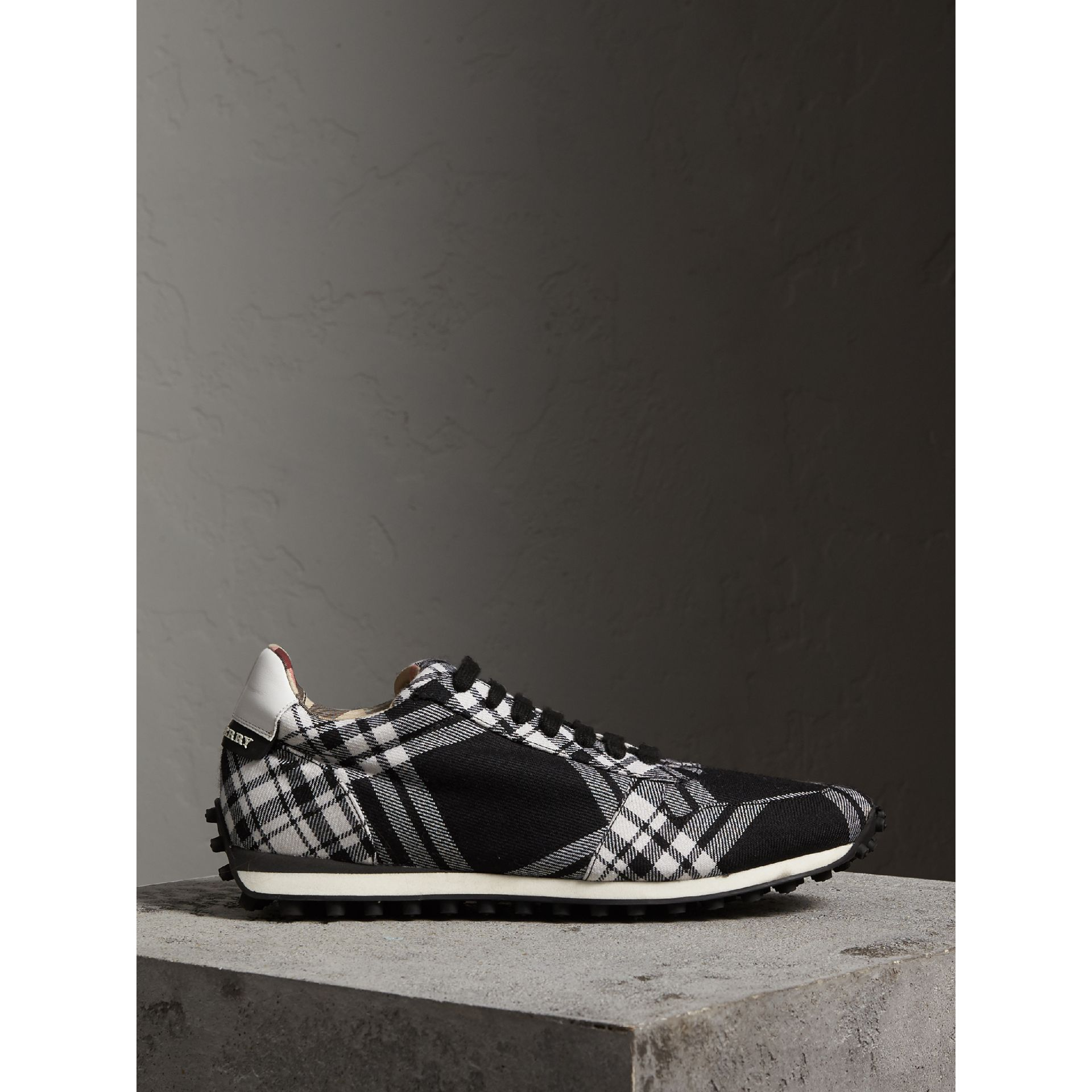 Tartan Wool Trainers in Black - Men | Burberry - gallery image 4