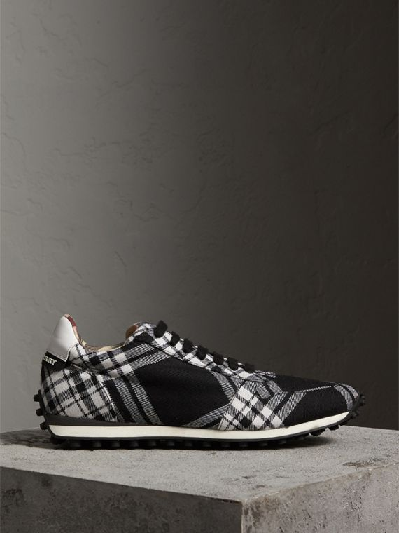Tartan Wool Trainers in Black - Men | Burberry - cell image 3