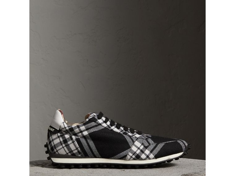 Tartan Wool Trainers in Black - Men | Burberry - cell image 4