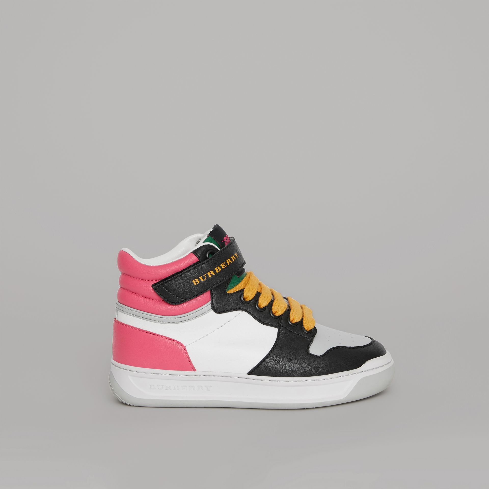 Colour Block Leather High-top Sneakers in Bright Rose - Children | Burberry - gallery image 3