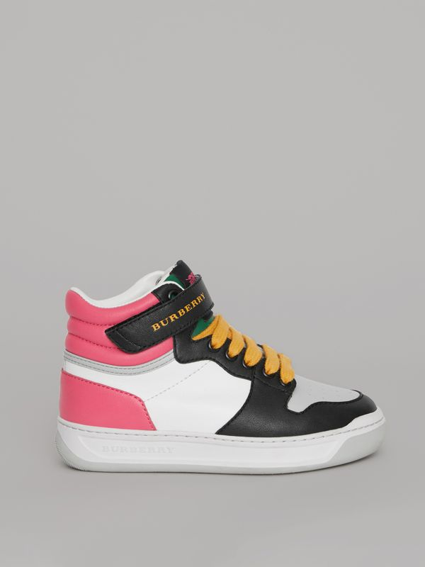 Colour Block Leather High-top Sneakers in Bright Rose - Children | Burberry Hong Kong - cell image 3