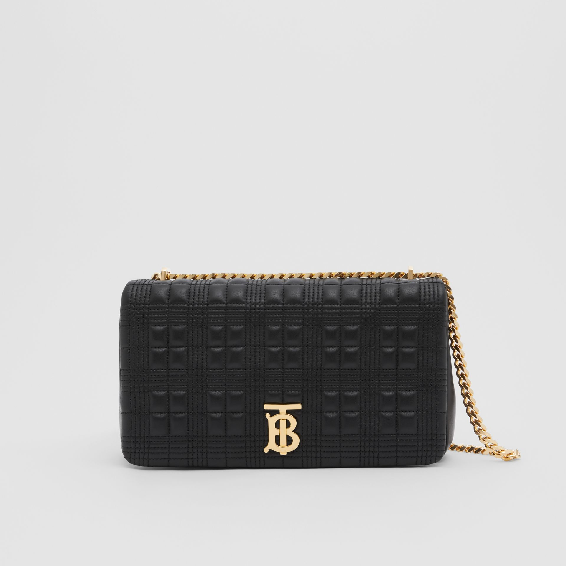 Medium Quilted Check Lambskin Lola Bag in Black - Women | Burberry - gallery image 0