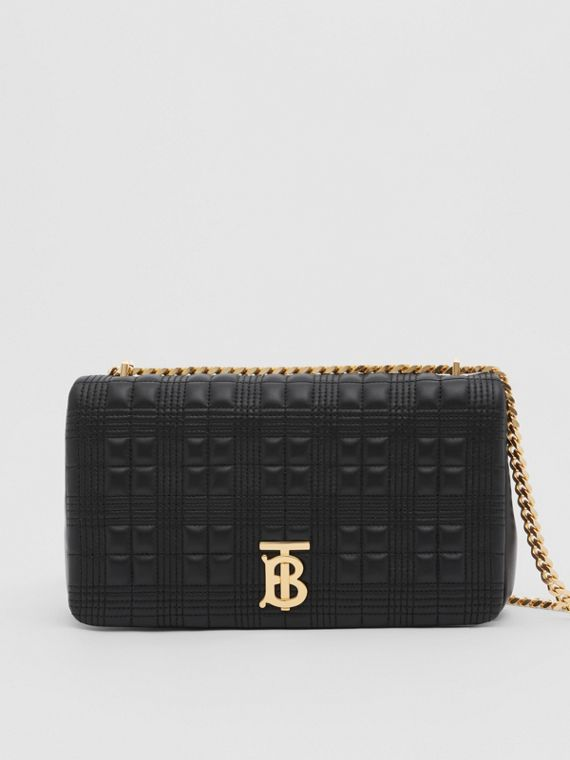 Medium Quilted Check Lambskin Lola Bag in Black