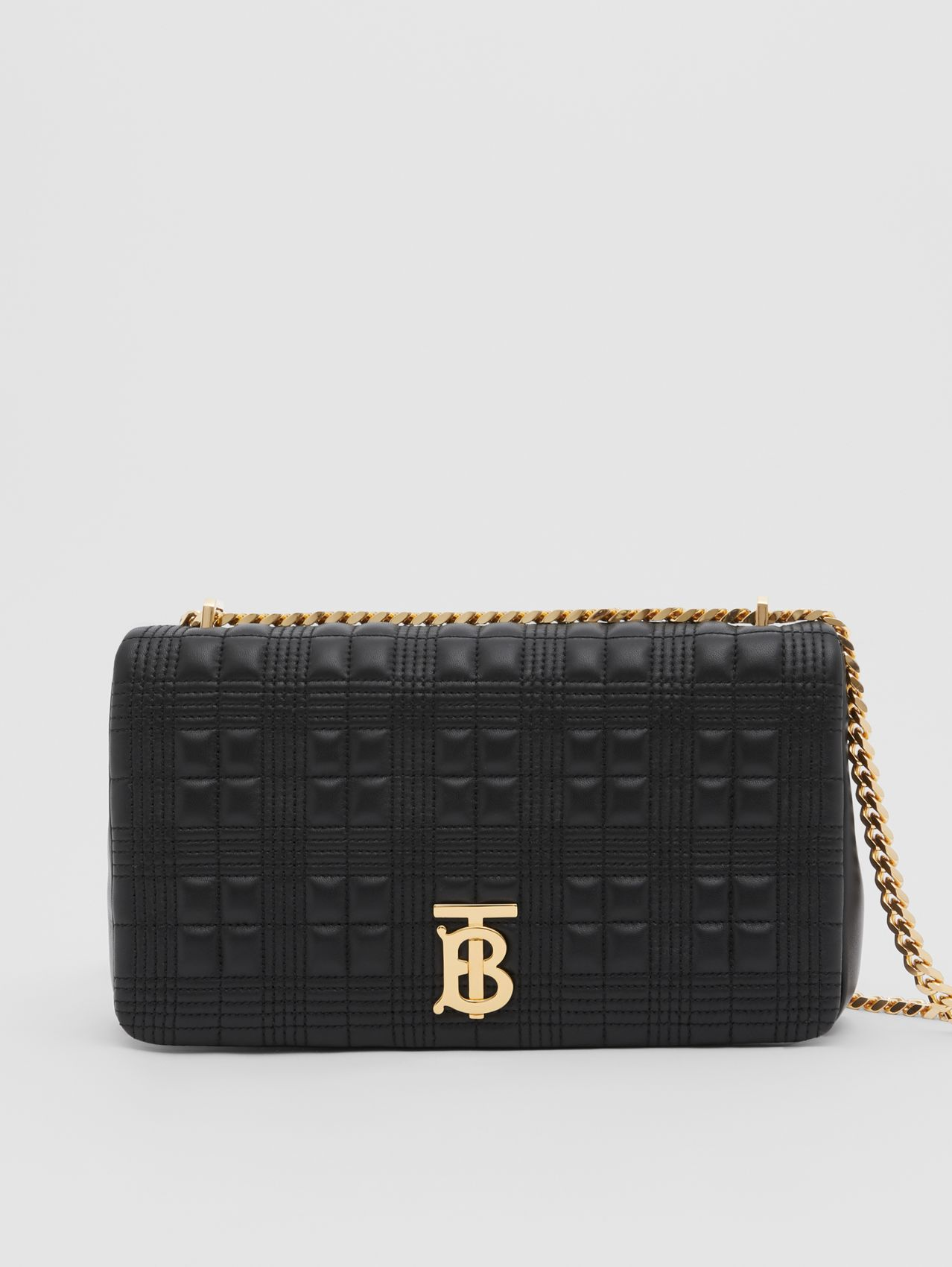 Medium Quilted Lambskin Lola Bag in Black/light Gold