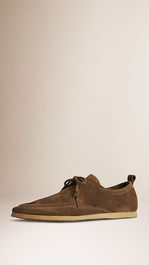 Brown Crepe Sole Suede Shoes - Image 1