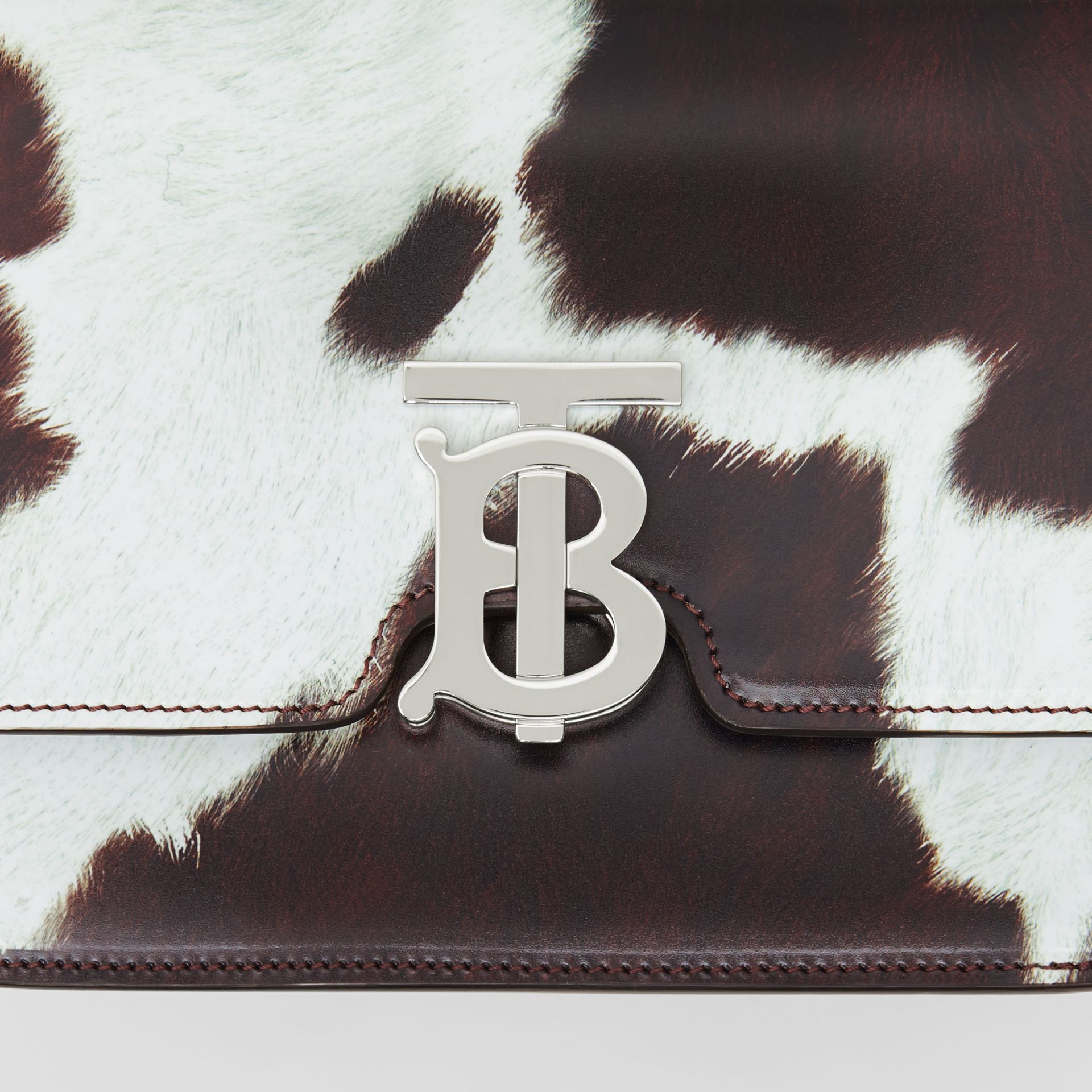 Small Cow Print Leather TB Bag in Mahogany Red - Women | Burberry Australia - gallery image 1