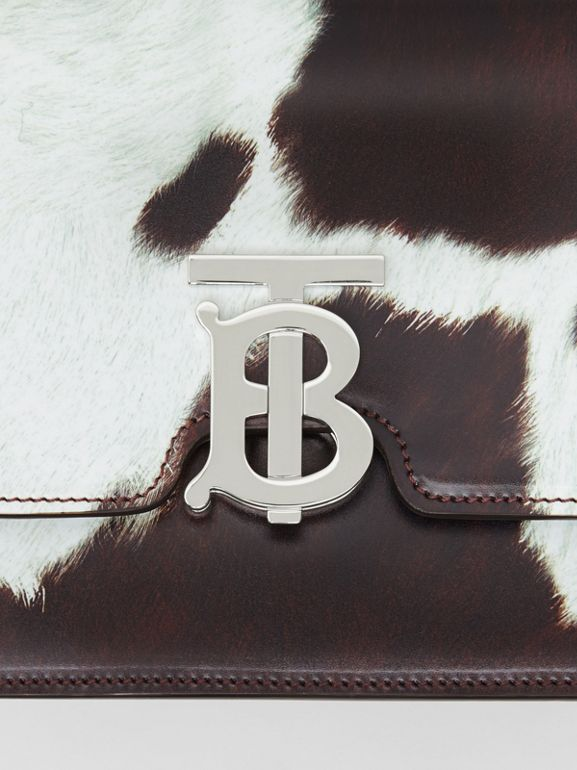 Small Cow Print Leather TB Bag in Mahogany Red - Women | Burberry United States - cell image 1