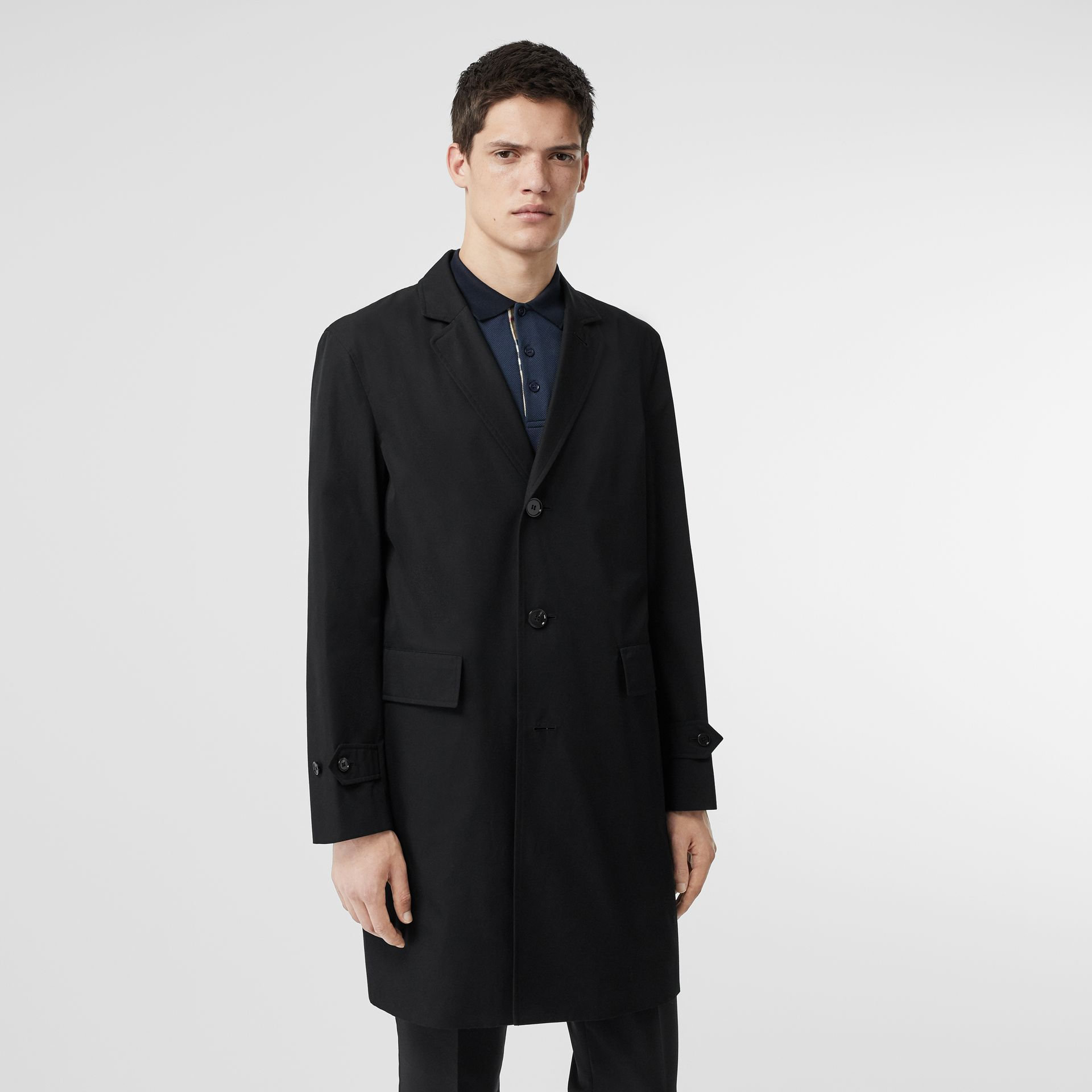 Cotton Gabardine Car Coat in Black - Men | Burberry - gallery image 5